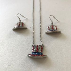 Jewelry - Uncle Sam Hat Necklace Earrings Set Patriotic New